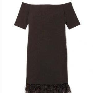 Vince Camuto Off the shoulder feather hem dress